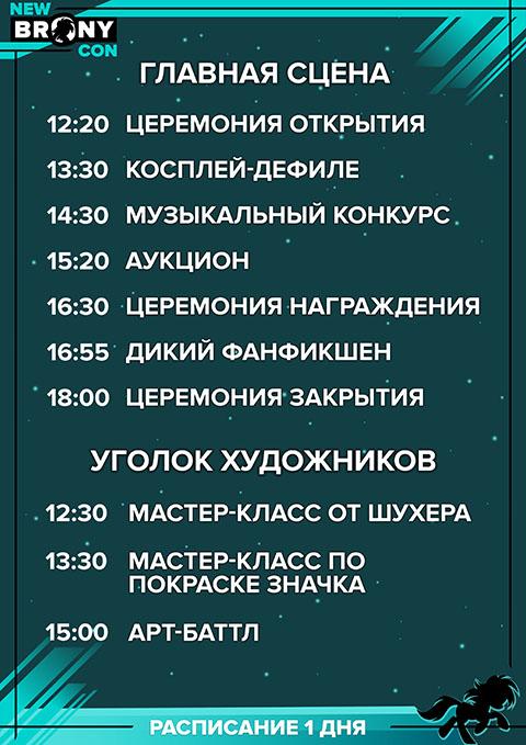 Расписание день 1